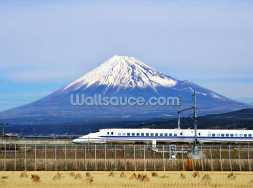 Mt. Fuji and the Bullet Train Wallpaper Wall Murals