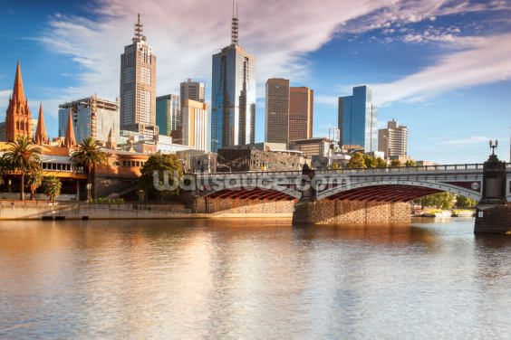 Melbourne Skyline Wallpaper Wall Murals