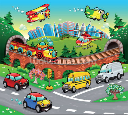 Cartoon Road Wallpaper Wall Murals