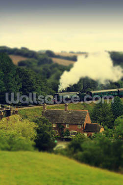 Steam Train Landscape Wallpaper Wall Murals