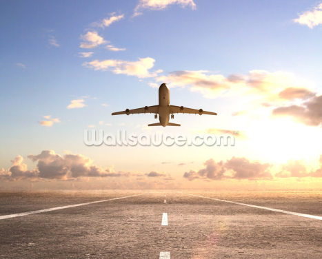 Aeroplane On Runway Wallpaper Wall Murals