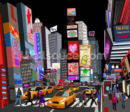 Abstract NY Times Square Wallpaper Wall Murals