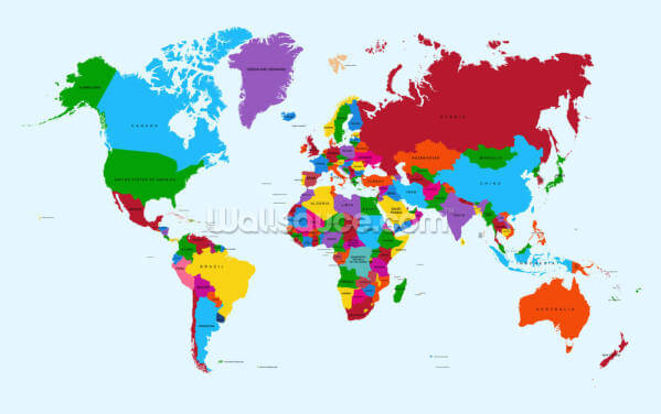Colour Map of the World Wallpaper Wall Murals