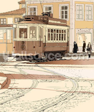 Old Portuguese Tram Wallpaper Wall Murals