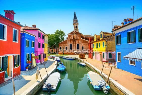 Burano Canal, Houses, Church and Boats Wallpaper Wall Murals