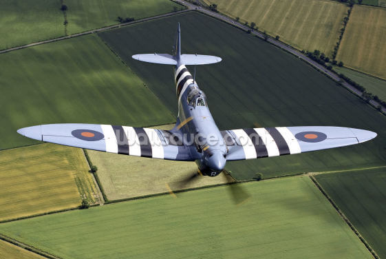Spitfire with Invasion Stripes Wallpaper Wall Murals