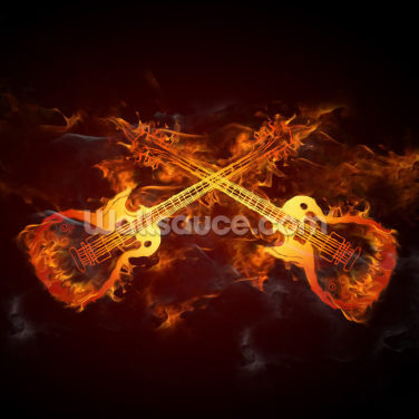 Guitars on Fire Wallpaper Wall Murals