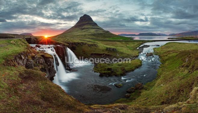 Icelandic Landscape at Sunset Wallpaper Wall Murals