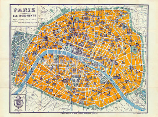 Map of Paris 1926 Wallpaper Wall Murals