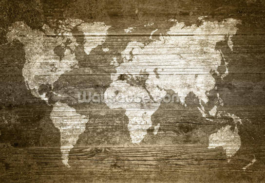 World Map on Wood Wallpaper Wall Murals