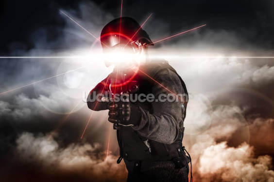 Soldier Aiming Assault Rifle Laser Sight Wallpaper Wall Murals