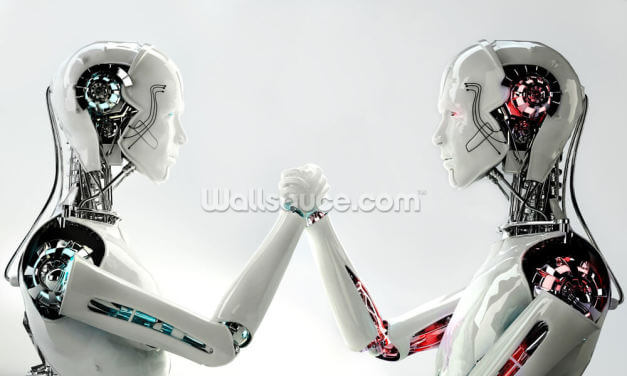 Robot Android Men in Competition Wallpaper Wall Murals