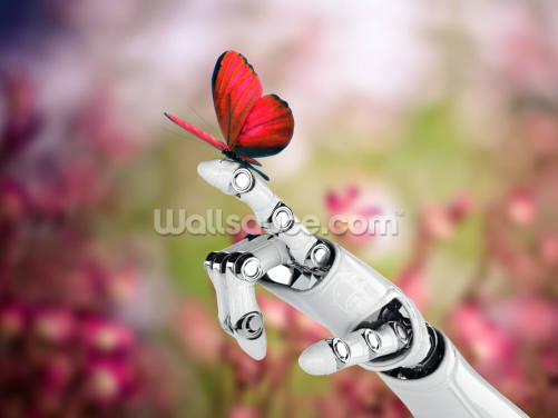 Robot Hand and Butterfly Wallpaper Wall Murals