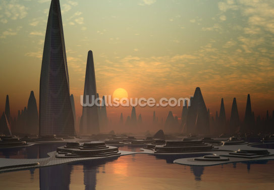 Futuristic Alien City Wallpaper Wall Murals
