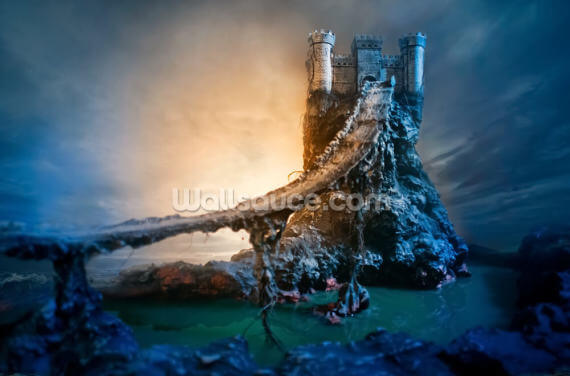 Mysterious Castle and Bridge Wallpaper Wall Murals
