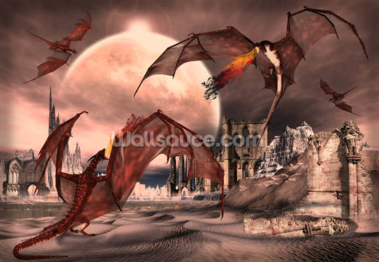 Fantasy Scene With Fighting Dragons Wallpaper Wall Murals