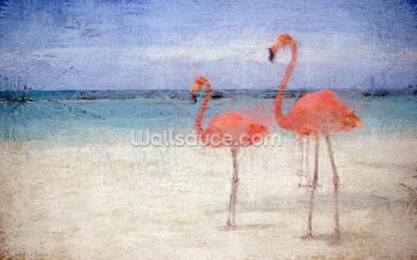 Flamingo Natural Wallpaper Wall Murals