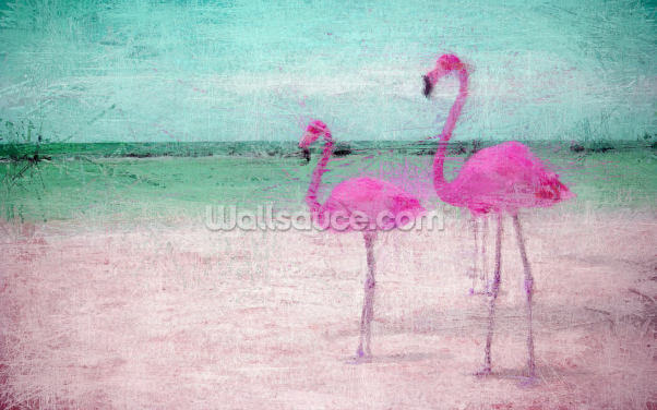 Flamingo Turquoise Pink Wallpaper Wall Murals