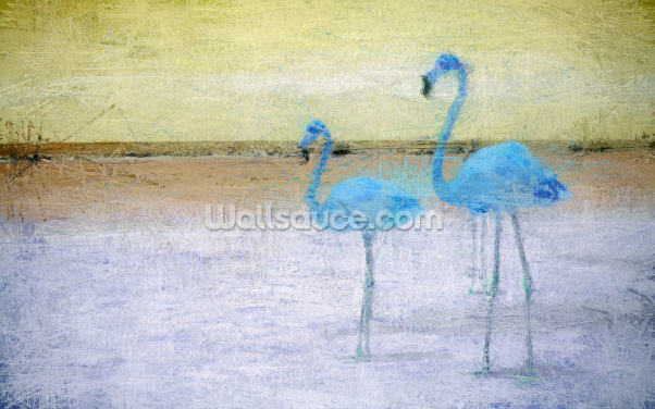 Flamingo Blue Yellow Wallpaper Wall Murals
