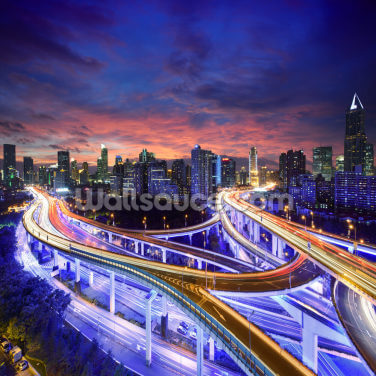 Shanghai Highway Sunset Wallpaper Wall Murals