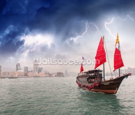 Hong Kong Harbour Boat Wallpaper Wall Murals
