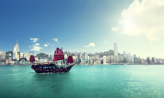 Hong Kong Harbour Sun Wallpaper Wall Murals