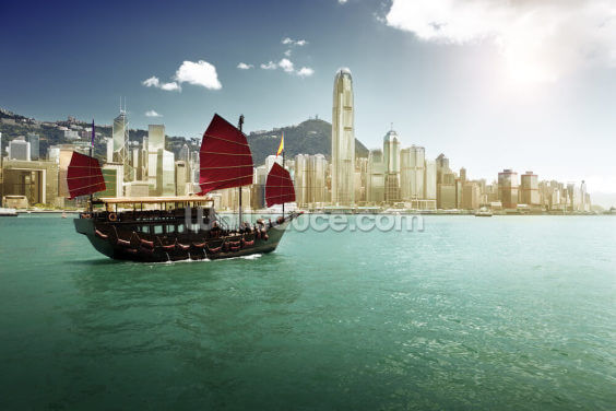 Hong Kong Sailing Boat Wallpaper Wall Murals