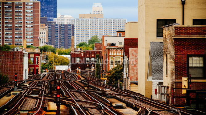 Chicago Train Tracks Wallpaper Wall Murals