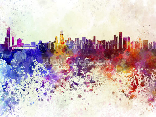 Chicago Abstract Wallpaper Wall Murals
