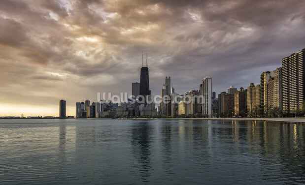 Chicago Sunrise Skyline Wallpaper Wall Murals