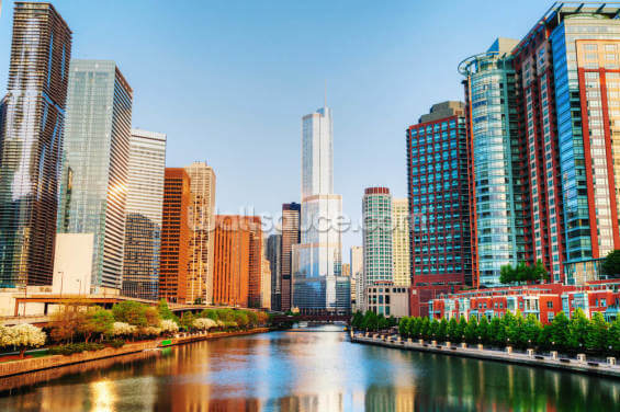 Chicago Downtown Waterway Wallpaper Wall Murals