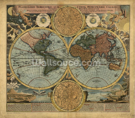 Colour Old Map Wallpaper Wall Murals