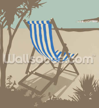 Bournemouth Blue Deckchair Wallpaper Wall Murals