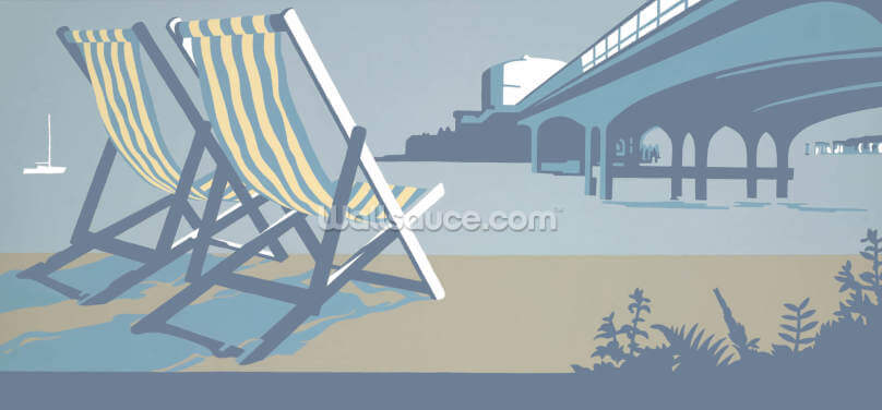 Bournemouth Pier and Deckchairs Wallpaper Wall Murals
