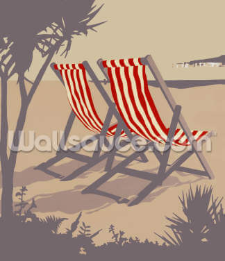 Bournemouth Red Deckchair Wallpaper Wall Murals