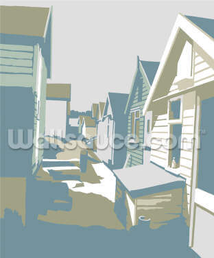 Mudeford Beach Huts Wallpaper Wall Murals