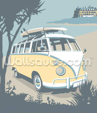 Newquay Camper Wallpaper Wall Murals