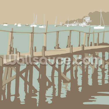 Sandbanks Hill Pier Wallpaper Wall Murals