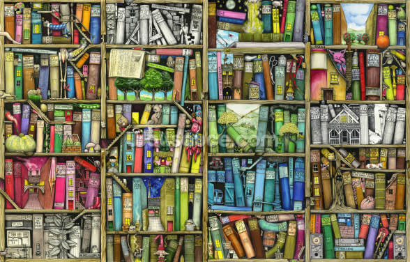 Bookshelf Wallpaper Wall Murals