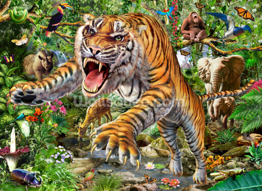 Tiger and Wildlife Wallpaper Wall Murals