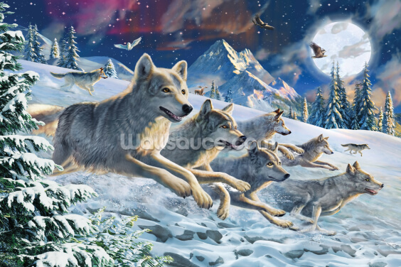 Moonlight Wolfpack Wallpaper Wall Murals
