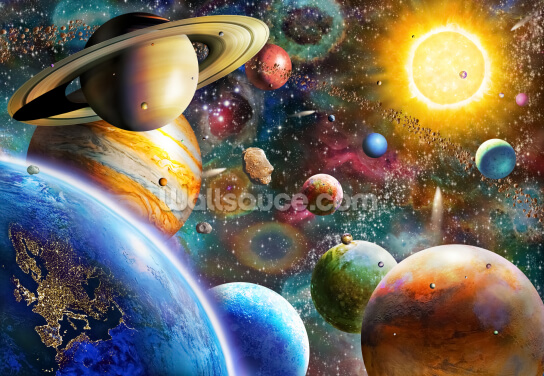 Planets in Space Wallpaper Wall Murals