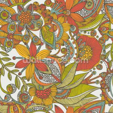 Flowers and Doodles Orange Wallpaper Wall Murals