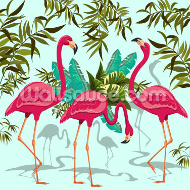 Tropical Pink Flamingos Wallpaper Wall Murals