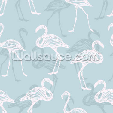 Light Blue & White Flamingos Wallpaper Wall Murals