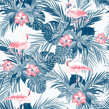 Indigo Flower Flamingos Wallpaper Wall Murals