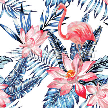 Blue Palm Flamingos Wallpaper Wall Murals