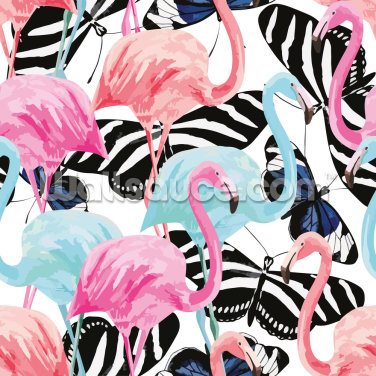 Flamingos with Butterflies Wallpaper Wall Murals