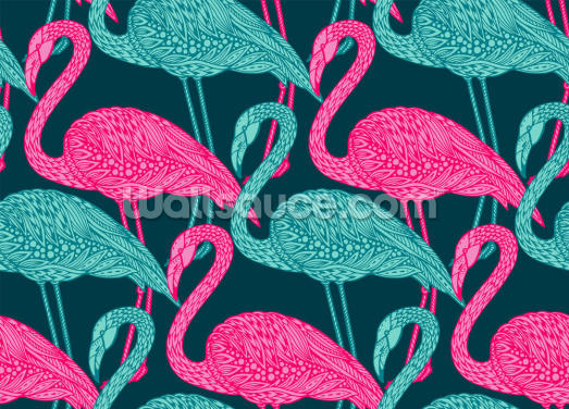 Flamingo Doodle Wallpaper Wall Murals