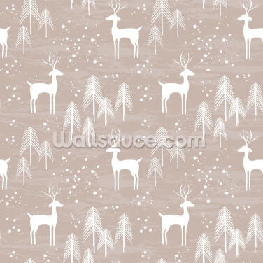 Deer in Winter Wallpaper Wall Murals